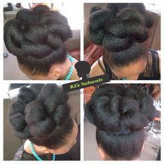 Blow Dried Natural Hair Updo by kemilewis