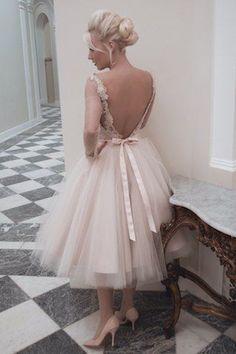 House of Mooshki tea length blush tulle wedding dress