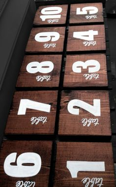Wood Table Numbers - Hand painted, modern rustic, wooden, square, autumn, fall, wedding table numbers. $110.00, via Etsy.