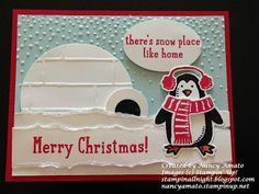 features Stampin Up's Snow Place stamp set and coordinating Snow Friends framelits; Stampin' All Night