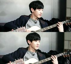 Love the way he plays guitar. Like he sold his soul to it. Chanyeol oppa, saranghae~