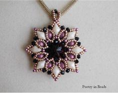 Beading Pendant Tutorial, Bead Pattern, Evening Star Pendant, Diamonduo, 2 hole Cabochon Beads, Swarovski, Rivoli, Bicone, Beadweaving, PDF