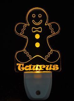 Gingerbread Man Light Sensor LED Plug In Night Light, Personalized Custom LED Nightlight by NeedForLight on Etsy