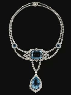 Important aquamarine and diamond necklace by Cartier, circa 1912