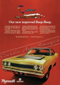 """1968 Plymouth Road Runner Ad """"Our New Improved Beep-Beep"""""""