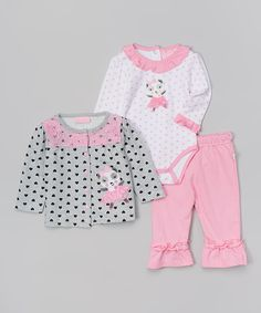 Look at this Duck Duck Goose White & Pink Ballet Panda Bodysuit Set - Infant on #zulily today!