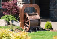 Copper water wheel offers a timeless old world style with antique patina finish that imitates a classic work of art. This traditional design is inspired by classic Old World European styles of intiquity. Email us for pricing and availabilty.