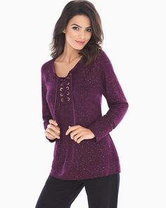 Soma French Terry Lace Up Sweatshirt Glittered Bordeaux, Size: XXL, Glittered Bordeaux Fashion Essentials, Style Essentials, Easy Wear, Beautiful Outfits, Beautiful Clothes, French Terry, Grosgrain, Autumn Fashion, Lace Up