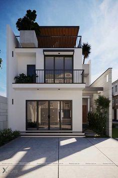 Casa pequena com três pavimentos e área externa valorizada Minimalist House Design, Minimalist Home, Modern House Design, Narrow House Designs, Simple House Design, Home Design, Style At Home, Bungalow Haus Design, Small Modern Home