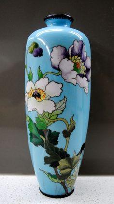Meiji Japanese Wired Cloisonne Enamel Peony Floral Turquoise Baluster Vase