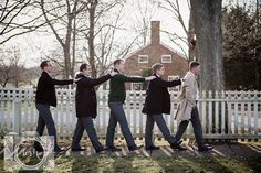Groom and groomsmen formal portraits at Shaker Village in Lexington, KY by Amanda May Photos
