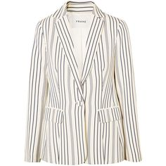 FRAME Striped crepe blazer (6.777.500 IDR) ❤ liked on Polyvore featuring outerwear, jackets, blazers, cream, white slim fit blazer, slim fit jackets, cream blazers, white blazers and white jacket