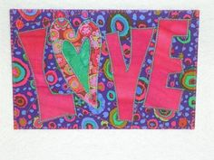 fabric postcard love   Love Quilted Appliqued Fabric Postcard   i made this--postquilts.etsy ...