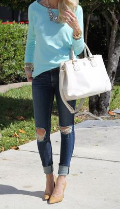 Sweater: F21 (not online) similar here, here and here, Jeans: Rag and Bone, Shoes: Kate Spade, Bag: Tory Burch, Necklace: Purple Peridot c/o (sold out) same here, Watch: Kate Spade, Bracelets: Love Always c/o, Love Alway c/o, Love Always c/o, Sunglasses: Karen Walker, Lips: MAC candy yum yum and MAC girl about town