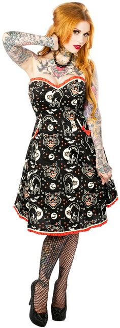 Lucy Fur - Cats & Bats Dress :: VampireFreaks Store :: Gothic Clothing, Cyber-goth, punk, metal, alternative, rave, freak fashions