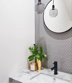 We so love this gorgeous bathroom designed by using our grey Penny Rounds. Styling by by Best Bathroom Tiles, Bathroom Renos, Modern Bathroom, Bathroom Ideas, Bathrooms, Natural Stone Bathroom, Penny Round Tiles, U Shaped Kitchen, White Vanity