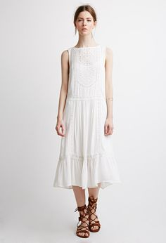Embroidered Crochet Midi Dress - Dresses - 2000052785 - Forever 21 EU