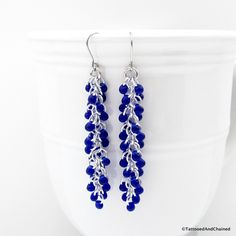 Cobalt blue beaded chainmaille earrings, Shaggy Loops weave