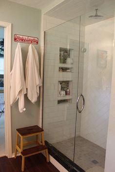 Love the shower niche, large subway tile, herringbone tile, titanium granite, ikea bekvam stool, attitude sign SW Copen Blue