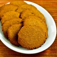 Recipe for Low-Sugar and Whole Wheat Molasses-Almond Cookies; if you like the flavor of molasses you'll love these cookies! [from Kalyn's Kitchen] #LowSugarChristmasCookies
