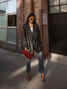 11 Going-Out Looks That Are Actually Fashionable, Too - celebrity fashion outfit inspiration street style - Leather Jacket Outfits, Blazer Outfits, Leather Blazer, Pants Outfit, Leather Jackets, Black Leather Jacket Outfit, Vintage Leather Jacket, Leather Leggings, Mode Outfits