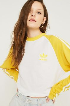 Shop adidas Originals Yellow Long-Sleeve Shirt at Urban Outfitters today. Womens Workout Outfits, Sport Outfits, Casual Outfits, Women's Casual, Yellow Long Sleeve Shirt, Long Sleeve Shirts, Sport Fashion, Fitness Fashion, Adidas Originals Tops