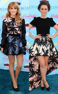 Fashion face-off: Bella Thorne vs. Lily Collins in matching palm print. Which star wore it best?