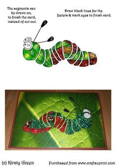 Iris Folding Caterpillar Pattern on Craftsuprint designed by Kirsty Green - A cute fun pattern for any occasion. Kids will love this card. I have attached my card example. - Now available for download!