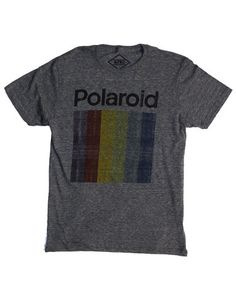Official Polaroid Instant Photo camera logo t-shirt with Polaroid prism color block. - Mens Slim Fit Cut shirt - Screen printed graphic on front Short sleeve tri-blend tee shirt - Rib collar. Neck and