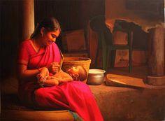 Tamil mother feeling proud her son - Painting by S. Elayaraja