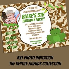 The Reptile Friends Collection - Customized Birthday Invitation Printable - DIY Printing - Frogs, Snakes and Lizards
