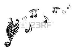 Gro�e Musik-Note mit Fl�geln, stellt Musik mit Liebe photo