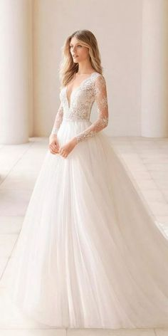 30 Stunning Long Sleeve Wedding Dresses For Brides ❤ long sleeve wedding dress. 30 Stunning Long Sleeve Wedding Dresses For Brides ❤ long sleeve wedding dresses a line v neckline lace sleeves with train rosa clara ❤ Full gallery: weddingdressesgui. Wedding Dress Sleeves, Long Wedding Dresses, Long Sleeve Wedding, Wedding Gowns, Dresses With Sleeves, Fall Wedding, Lace Sleeves, 2 In 1 Wedding Dress, Wedding Ceremony