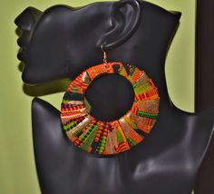 Hey, I found this really awesome Etsy listing at https://www.etsy.com/listing/190615702/black-kente-hoops