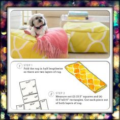 """-DIY floor poufs  MATERIALS Ikea Stockholm rug Foam bead filler Scissors Yardstick Sewing machine White thread  1. Fold the rug in half lengthwise so there are two layers of rug.  2. Measure out (2) 22.5"""" squares and (4) 12.5""""x22.5"""" rectangles. Cut each piece out of both layers of rug- you'll end up with double the number of squares and rectangles."""