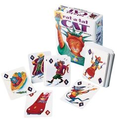 Ages: 4 (with help), 5+  Rat-A-Tat-Cat Gamewright http://smile.amazon.com/dp/B00000GBQJ/ref=cm_sw_r_pi_dp_7eUBwb1XDAYZT