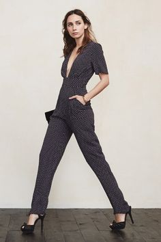 We're always searching for new ways to show off your decolletage. If you're feeling daring - the Dean Jumpsuit. This stunner has short sleeves, a plunging neckline, fitted waist and side pockets.   https://www.thereformation.com/products/dean-jumpsuit-dots?utm_source=pinterest&utm_medium=organic&utm_campaign=PinterestOwnedPins