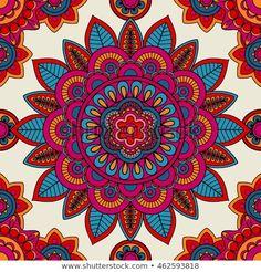 Illustration about Mandala boho hand drawn seamless pattern. Illustration of fashion, drawn, mandala - 75610858 Mandala Wallpaper, Mandala Artwork, Mandala Drawing, Mandala Painting, Dot Painting, Design Textile, Design Floral, Deco Floral, Boho Pattern