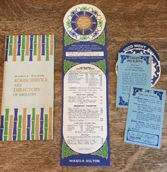 Vintage Manila Hilton Hotel Room Service Menu w/ 2 Drink Cards 1970s Philippines