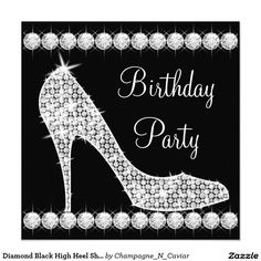 Diamond Black High Heel Shoe Birthday Party 5.25x5.25 Square Paper Invitation Card