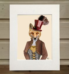 Fox art print Vivienne Steampunk fox Art Poster by LoopyLolly