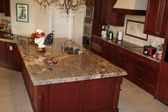 cherry cabinets with granite countertops | Crema Bordeaux Granite Countertops (3927), Juparana Crema Bordeaux ...