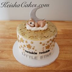 Twinkle twinkle little star gender reveal cake. With gold stars, moon, and sleeping teddy bear. www.keishacakes.com