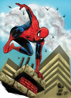 Spider-Man by Mike Wieringo, inks by SpiderGuile, colours by John-Paul Bove