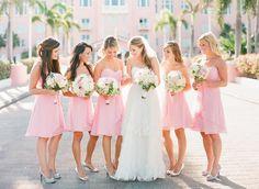Pink bridesmaid dresses for beach wedding