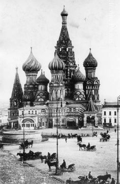 """St Basil's Cathedral in Moscow, Russia during Imperial times,around 1900. """"AL"""""""