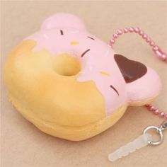 Creamiicandy bear shape pink icing mini donut scented squishy