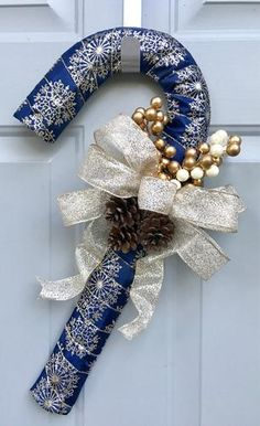 Candy Cane Door Hanger, Blue Gold Christmas Decor, Candy Cane Wreath - Christmas Decor - Holiday Decor