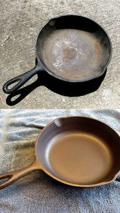 Reconditioning & Re-Seasoning Cast Iron Cookware. Good to know for when i invest in a cast iron skillet Diy Cleaning Products, Cleaning Hacks, Iron Cleaning, Cleaning Solutions, Deep Cleaning, Cleaning Supplies, Cleaning Recipes, Spring Cleaning, Seasoning Cast Iron