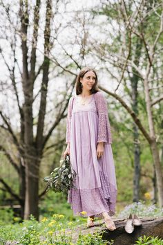 Lavender Lace Maxi Dress by Blue and Seychelles Sandals